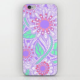 Zen Flowers Doodle Design - Lavender Green iPhone Skin