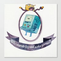 beemo Canvas Prints featuring BMO // WHO WANTS TO PLAY VIDEO GAMES? by Connie Cann