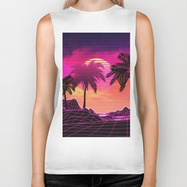 Pink vaporwave landscape with rocks and palms Biker Tank