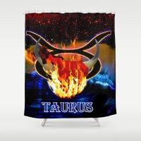taurus Shower Curtains featuring Taurus by LBH Dezines