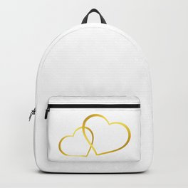 two gold hearts, wedding Backpack