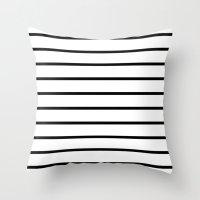 Throw Pillows featuring Thin Black Stripe Pattern by RexLambo