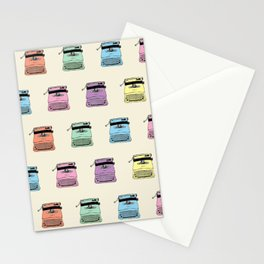 A head full of typewriters - pattern - vintage - '50s - 1950 - fifties- lettera 22 - Oiivetti facsim Stationery Cards