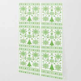 Christmas Cross Stitch Embroidery Sampler Green And White Wallpaper