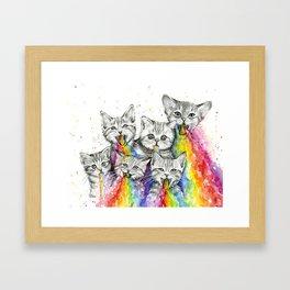 Kittens Puking Rainbows Framed Art Print