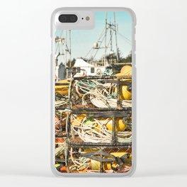 Crab Pot Photograph, Ilwaco Washington Harbor, Northwest Fisherman Boat Photo, Crabber, Seafood Clear iPhone Case