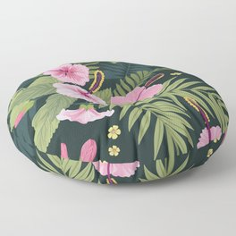 Bold Graphic Floral Tropical Plant Pink Hibiscus Lush Dark Colorful Pink Flowers Pattern Floor Pillow