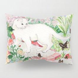 White Cat in a Garden Pillow Sham