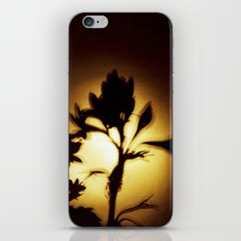 Yellow and Black Floral Shadow Art Print iPhone Skin