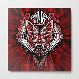 Wolf Tattoo Style Haida Art Metal Print