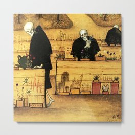 Garden of Life and Death flower and skeleton magical realism portrait painting by Hugo Simberg Metal Print