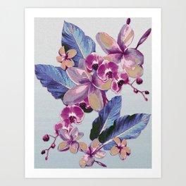 Tropical Vintage Plumerias Art Print