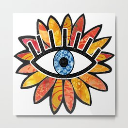Greek Evil Eye Peach Flower Metal Print