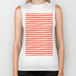 Thin Stripes White on Deep Coral Biker Tank