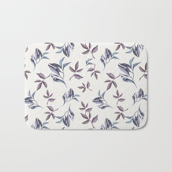 Watercolor cold leaves pattern Bath Mat
