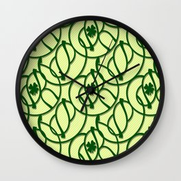 St. Patrick's Day Clovers Wall Clock