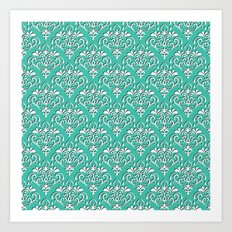 damask pattern torquoise with shadow Art Print