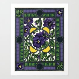Stained Glass Pansies Art Print