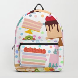 Birthday, valentine's day, wedding, engagement. Set sweet cake, chocolate icing sprinkles Backpack
