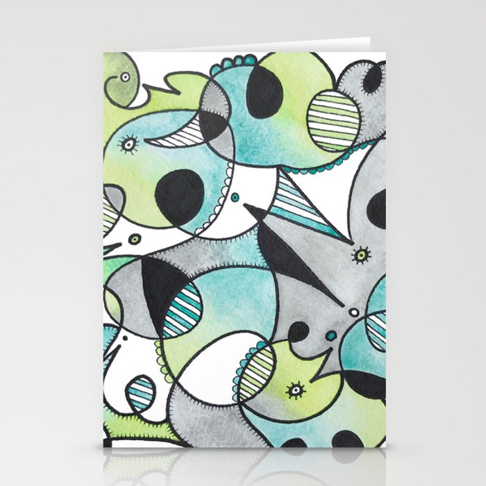 Abstract Critters Stationery Cards