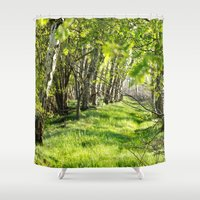 birch Shower Curtains featuring birch alley by Kay Weber