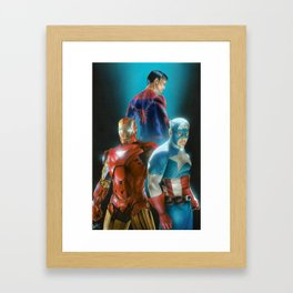 Civil War featuring Captain America, Spiderman, & Ironman Framed Art Print