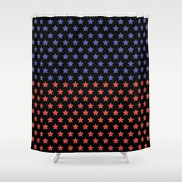 Red and blue stars black pattern Shower Curtain