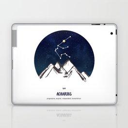 Astrology Aquarius Zodiac Horoscope Constellation Star Sign Watercolor Poster Wall Art Laptop & iPad Skin