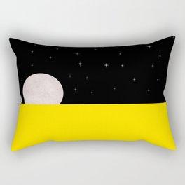 Black night with stars, moon, and yellow sea Rectangular Pillow