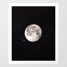 Space Night Sky Moon Art Print