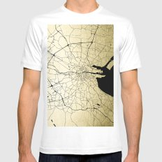 Dublin Ireland Green on White Street Map MEDIUM White Mens Fitted Tee