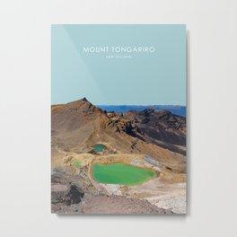 Mount Tongariro, New Zealand Travel Artwork Metal Print