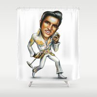 elvis presley Shower Curtains featuring Elvis Presley by sergo