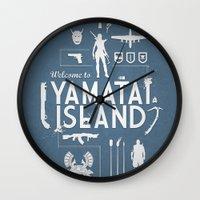 tomb raider Wall Clocks featuring Welcome To Yamatai Island - Tomb Raider by s2lart