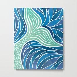 Green Mermaid Tail in a swirling Ocean Metal Print