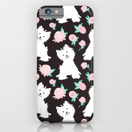 dogs and flowers pattern iPhone Case