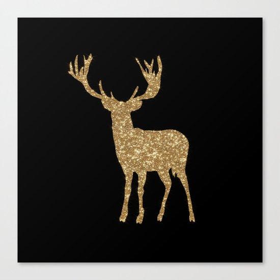 Sparkling golden deer - Wild Animal Animals on #Society6 Canvas Print