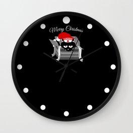 Naughty Cat Merry Christmas Wall Clock