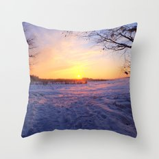 Snowed in peat fields Throw Pillow