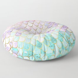 Iridescent Mermaid Pastel and Gold Floor Pillow