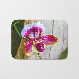 Wild Pink and Yellow Lady Slipper Flower Bath Mat