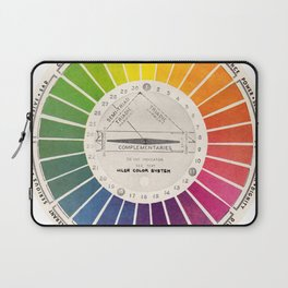 Vintage Color Wheel - Art Teaching Tool - Rainbow Mood Chart Laptop Sleeve