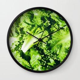 Green Leaf Lettuce Background Pattern Wall Clock