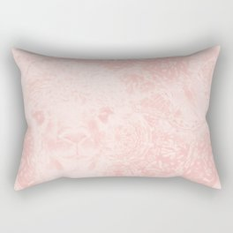 Ghostly alpaca and butterfly with mandala in Rose Quartz Rectangular Pillow