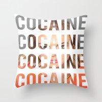 lindsay lohan Throw Pillows featuring LINDSAY LOHAN - COCAINE by Beauty Killer Art