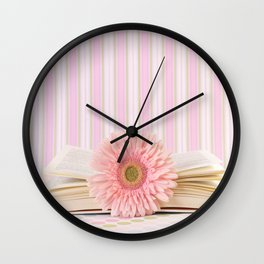 Pink flower on book (Retro Still Life Photography)  Wall Clock