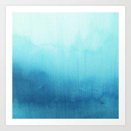 Modern teal sky blue paint watercolor brushstrokes pattern Art Print