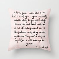 notebook Throw Pillows featuring Notebook by courtneeeee