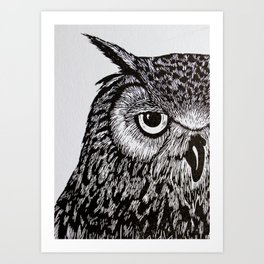 Black&White Owl Art Print