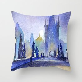Charles Bridge in medieval city of Prague- Czech Republic.  Painte Throw Pillow